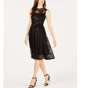 NWT Calvin Klein Sequin Rose Fit Flare Dress 10